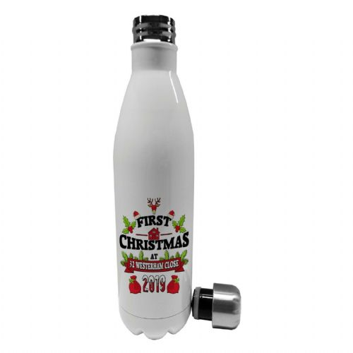 750ml First Christmas At New Address Festive Steel Vacuum Insulated Water